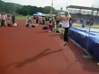 Cute Blonde Chick Fails At High Jump